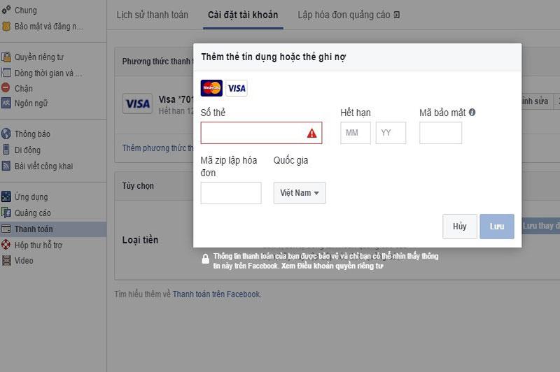 Thêm thẻ Visa