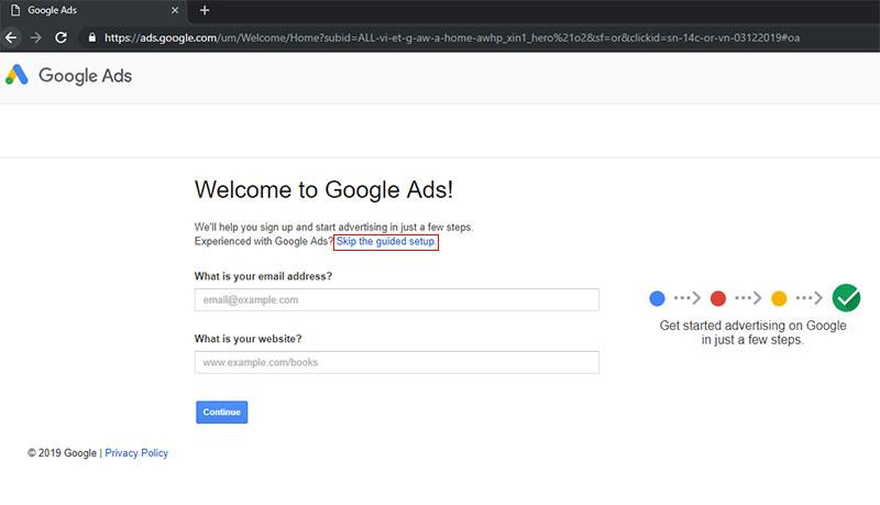 chạy quảng cáo google ads bước 2