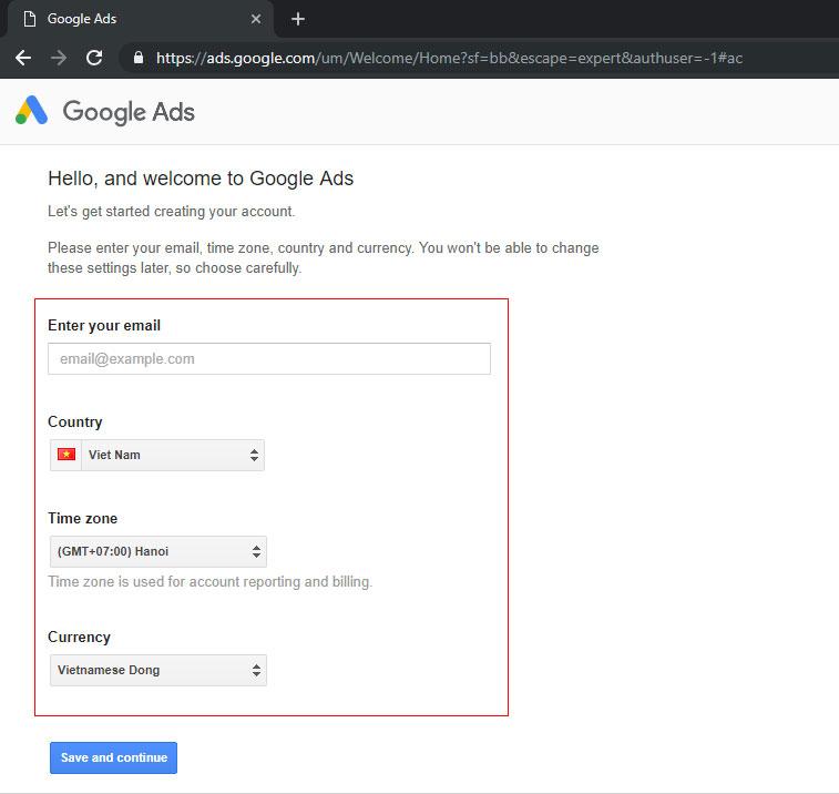 chạy quảng cáo google ads bước 3