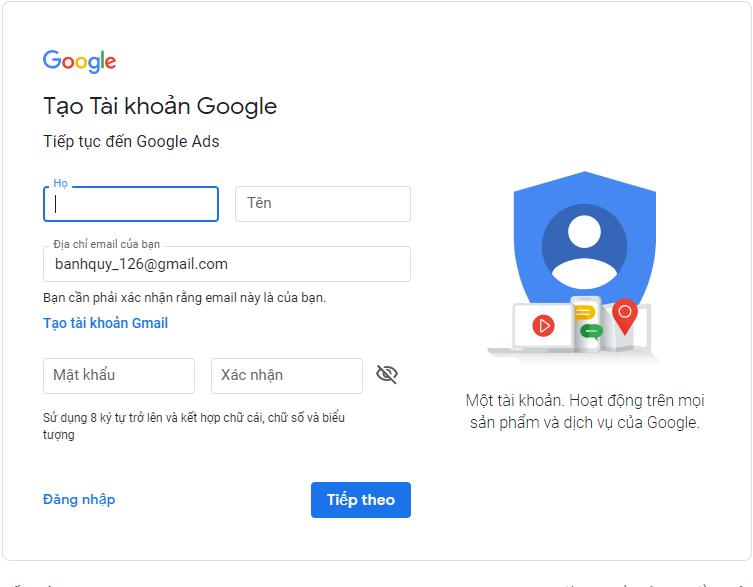 hướng dẫn tạo 1 tài khoản quảng cáo Google