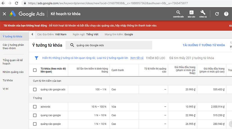 phân tích từ khóa Google Adwords Google Keyword Planner